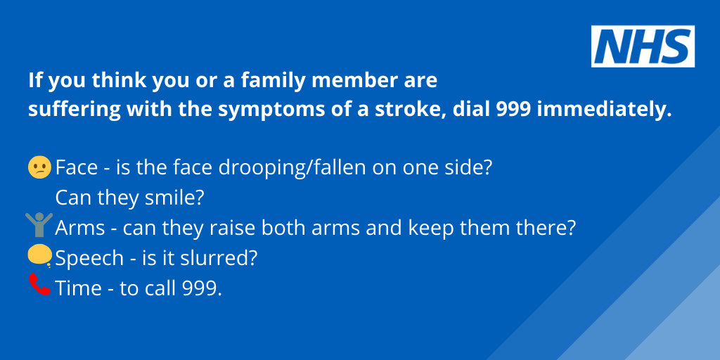 If you think you or a family member are suffering with the symptoms of a stroke, dial 999 immediately