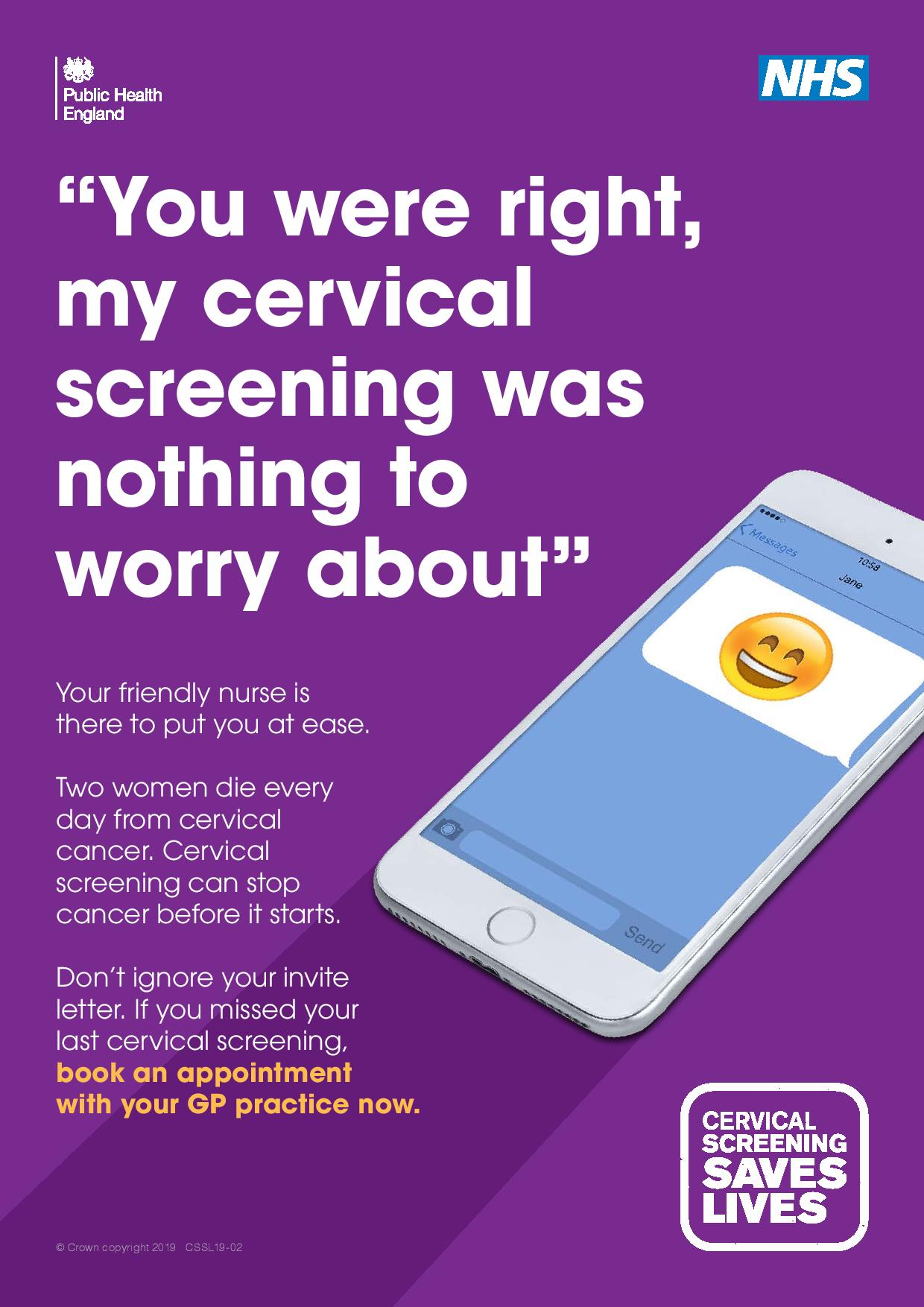 """""""You were right, my cervical screening was nothing to worry about"""""""