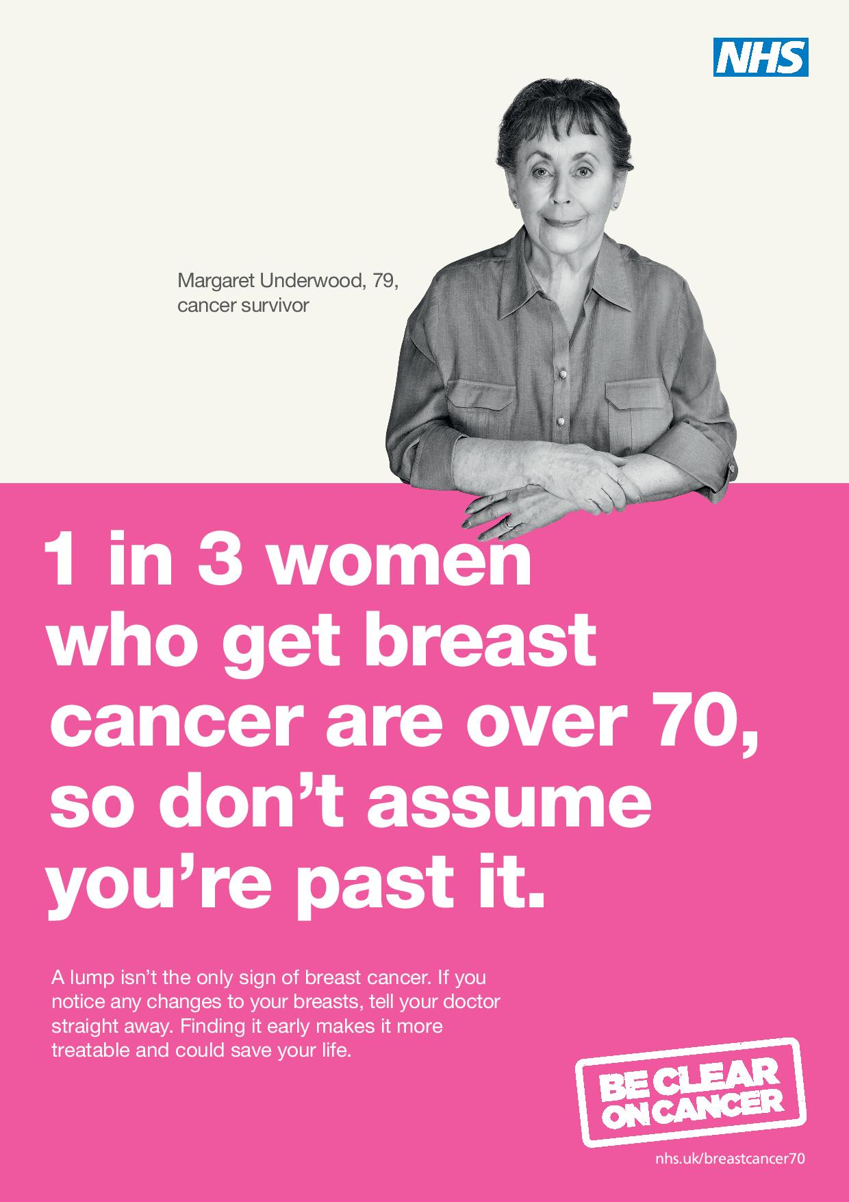 1 in 3 women who get breast cancer are over 70, so don't assume you're past it